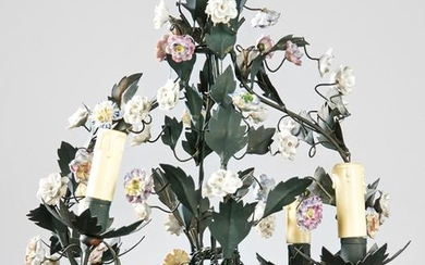 Hanging lamp in painted iron and porcelain flowers