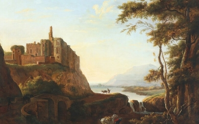 Hendrik Frans de Cort: Landscape with a view towards Cary Castle. Signed and dated De Cort 1799. Oil on panel 52×69 cm.
