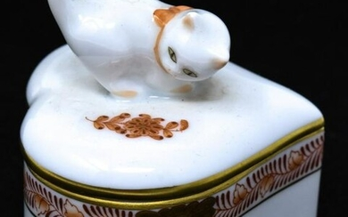 Herend Hungary Porcelain Table Box w Cat
