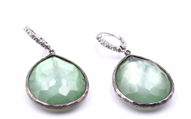 Ippolita Green Rock Crystal and Diamond Earrings