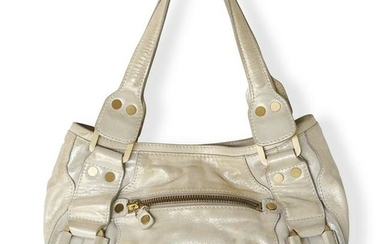 Jimmy Choo Gold Leather Mahala Tote