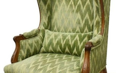 LOUIS XV STYLE CARVED WALNUT BERGERE WING CHAIR