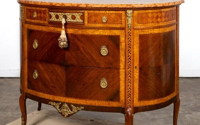 LOUIS XV STYLE MARBLE TOP DEMILUNE COMMODE