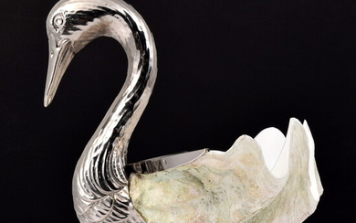 Large Shell Swan Sculpture, Manner of Binazzi Foresto