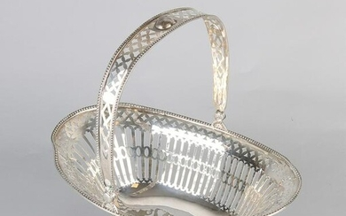 Large silver handle basket, 925/000, with sawn