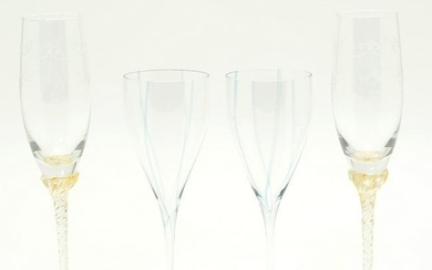 Lot of Crystal Champagne Flutes, Murano and Speck of