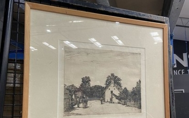 """Louis M Ward - """"Country Village Scene"""" etching. 17.5 x 22.5cm, signed lower right"""