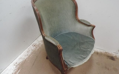 Louis XV Carved Frame Upholstered Bomb Tub Arm Chair...