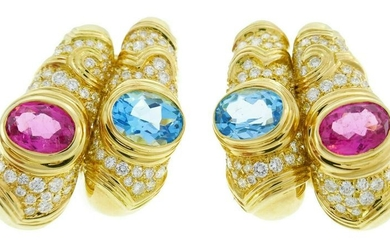MARINA B Yellow Gold Hoop EARRINGS with Blue Topaz