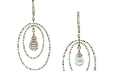 Magnificent Briolette and Pave Diamond Circle Gold Drop