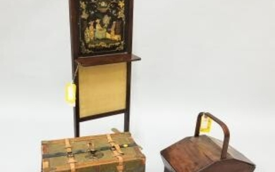 Mahogany Handled Sewing Box, Firescreen, and a Leather-bound Trunk