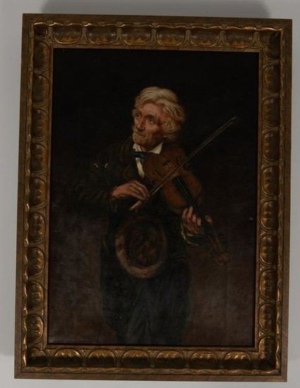 Maughlin Oil on Canvas Portrait of Man w/ Fiddle