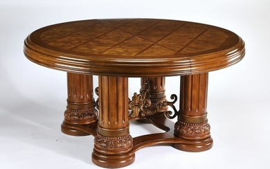 Michael Amini burl and parquetry table w/ leaf