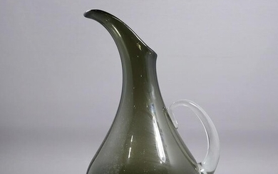 Mid-Century Modern Smoked Glass Pitcher Applied Handle