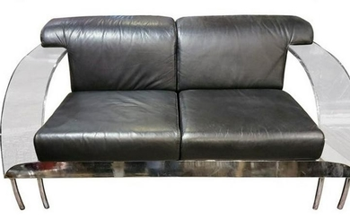 Modern Italian Lucite, Chrome and Leather Sofa By Dover