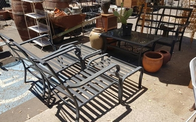 Modern Metal Outdoor Suite incl. 2 Seater, 2 Armchairs, 2 Footstools and Table