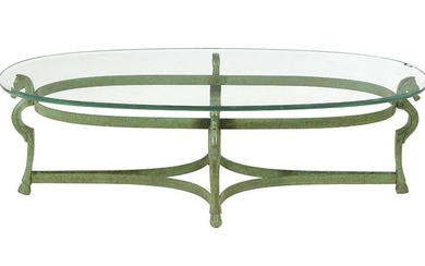 Modern Patinated Brass and Glass-Top Coffee Table