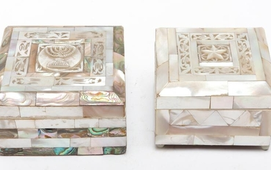 Mother of Pearl Hinged Lid Trinket Boxes, 2