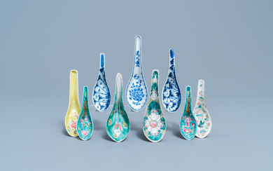 Nine various Chinese spoons for the Straits or Peranakan market, 19/20th C.