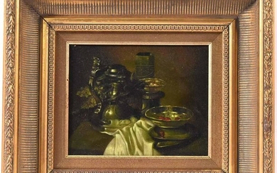Oil on Canvas, Still Life with Pewter Objects