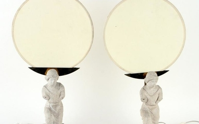 PAIR ITALIAN ART DECO LAMPS CAST STONE FIGURES