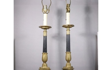 Pair 19th C. French Empire Candlestick Table Lamps Elec