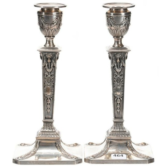 Pair Solid Silver Candlesticks