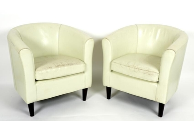 Pair Vintage White Leather Club Chairs