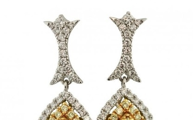 Pair of 18k Gold and Diamond Earrings