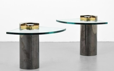 Pair of Karl Springer Cantilevered Occasional Tables