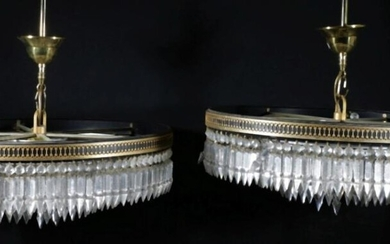 Pair of Large Crystal Drop Chandeliers with Six Light Sockets Dia:53cm