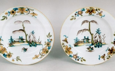Pair of fine scarce mid 18th century Liverpool delft