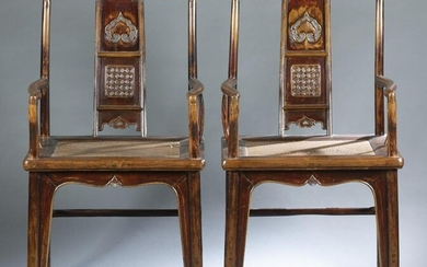 Pair of low square back armchairs, 18th century