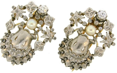 Pearl Diamond Platinum Gold Double CLIP Pin Brooch Pair