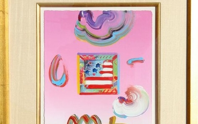 Peter Max, Flag, Acrylic and Collage Painting