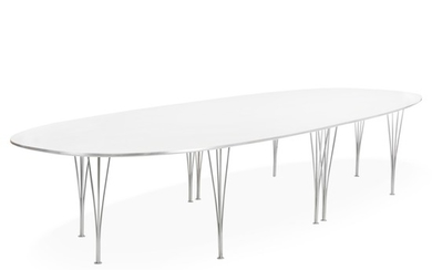 """Piet Hein: """"Superellipse"""". Large table with legs of chromed steel. Top of white laminate. H. 71 cm. L. 420 cm. W. 140 cm."""