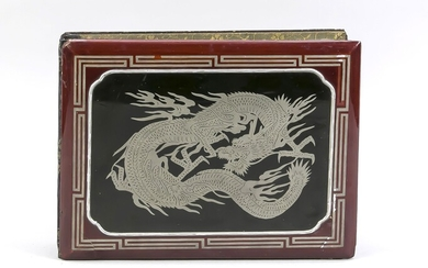 Postcard album, Japan, around 1900. Lacquer cover with silver dragon and meander, linen back. Content: 42 partially coloured, partially used postcards. Including Japanese military, culture, topography. Furthermore, China, Formosa, Hong Kong. 20...