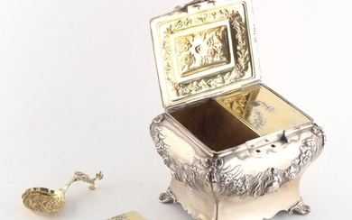 Property of a lady - a Victorian silver tea caddy of rococo ...