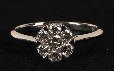 Ring with brilliant cut diamonds tot about 0.54 ct