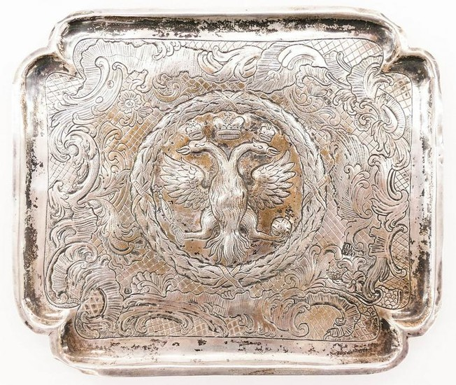 Russian 18th Cent. Silver Repousse Sweet Meat Tray