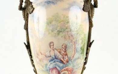 SEVRES STYLE BRONZE MOUNTED VASE HAND PAINTED