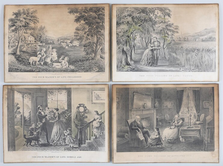 Set of (4) reproduction Currier & Ives prints. FR3SH.