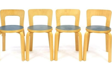Set of four vintage Danish bentwood chairs, one with Ny