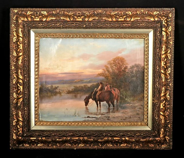 Signed 19th C. Hattone Painting, Cowboy at Dusk