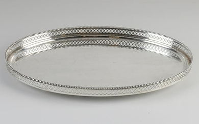 Silver tray, 835/000, oval with upright sawn edge with
