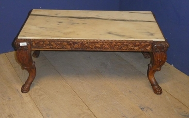 Small marble topped coffee table, with carved wooden frieze ...