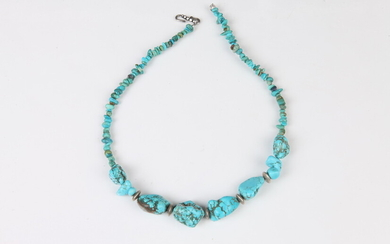TURQUOISE NECKLACE WITH VARIOUS SIZED STONES AND SILVER-TONE CLASP, No...