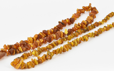 TWO AMBER NECKLACES