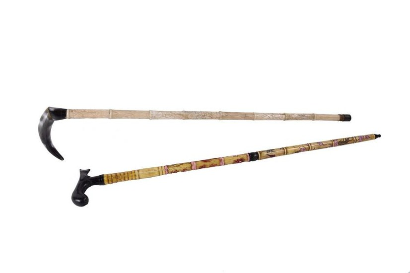 TWO CHINESE HORN AND RESIN WALKING STICKS