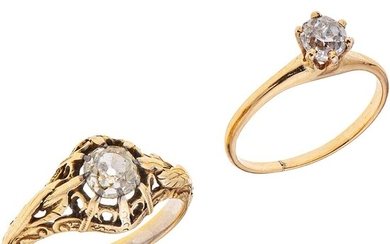 TWO SOLITAIRE RINGS. 14K YELLOW GOLD